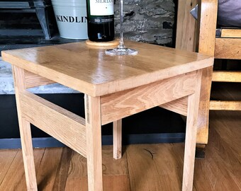 Side table made from solid oak; Can also be used as a stool