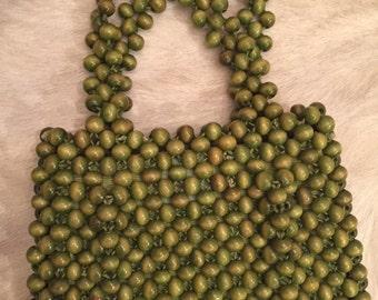 Dayne Taylor 50's green wood beaded purse