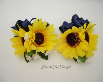 Sunflower Corsage with Navy Ribbon, Yellow and Blue Wedding Flower, Mother of bride and groom gift, 1 wrist corsage