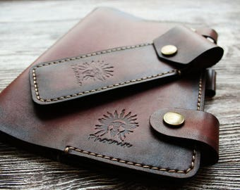 brown leather cover + pencil case