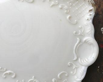 Vintage Milk Glass Vanity Tray Victorian Dish