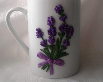 Lavender Ceramic Mug /Cup Polymer Clay