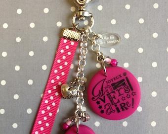 "Bag charm or keychain ""happy birthday"" birthday gift"