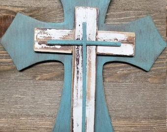 Wood Layered Crosses Stacked -Distressed Wood Wall Cross