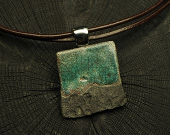 Raku Necklace - Landscape - Handmade Raku necklace - OOAK