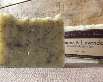 Lemon and lavender essential oil soap - handmade soap - exfoliating soap - poppy seeds - mostly organic soap - lavender soap - lemon soap