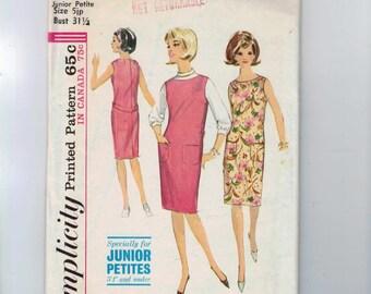 1960s Vintage Dress Pattern Simplicity 7757 Misses A Line Mod Mini Dress with Button Neckline Detail Size 10 Bust 32 1/2 1968 60s