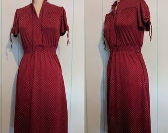 Maroon Polkadot Dress Size 9
