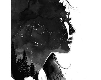 Star Gazing, print from original watercolor illustration by Jessica Durrant
