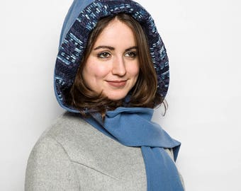 Model UNIQUE/hooded scarf in wool/plain blue/lining woven/casual chic/warm cocoon/creation handcrafted and original woman