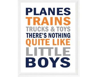 Planes Trains Trucks And Toys, There's Nothing Quite Like Little Boys, Boy Nursery Decor, Boy Wall Art, Navy Blue, Orange, Gray, Boy Art