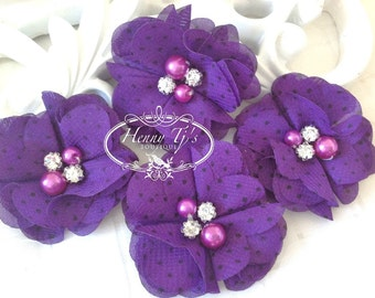 NEW: 4 pcs Aubrey PURPLE Polka Dots Print - Soft Chiffon with pearls and rhinestones Layered Small Fabric Flowers, Hair accessories
