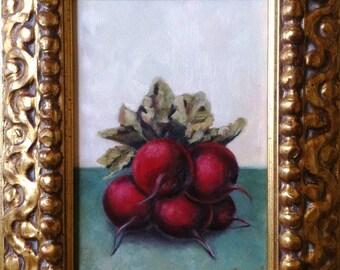 Original, Oil Painting, Radishes, Framed, Still Life, Fine Art