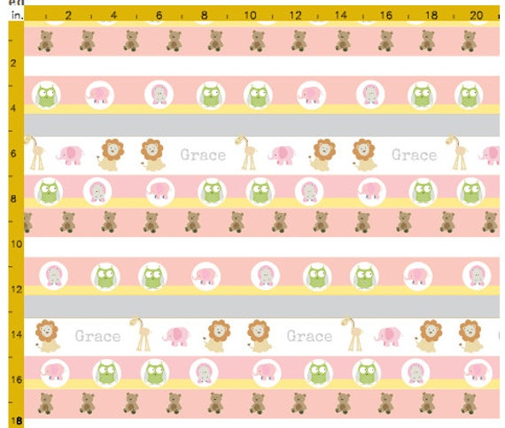 Personalized Organic Cotton  Blanket - Garden Stripes Friends 1 Pink, Zoo Animal Stripes Baby /Toddler  Blankets
