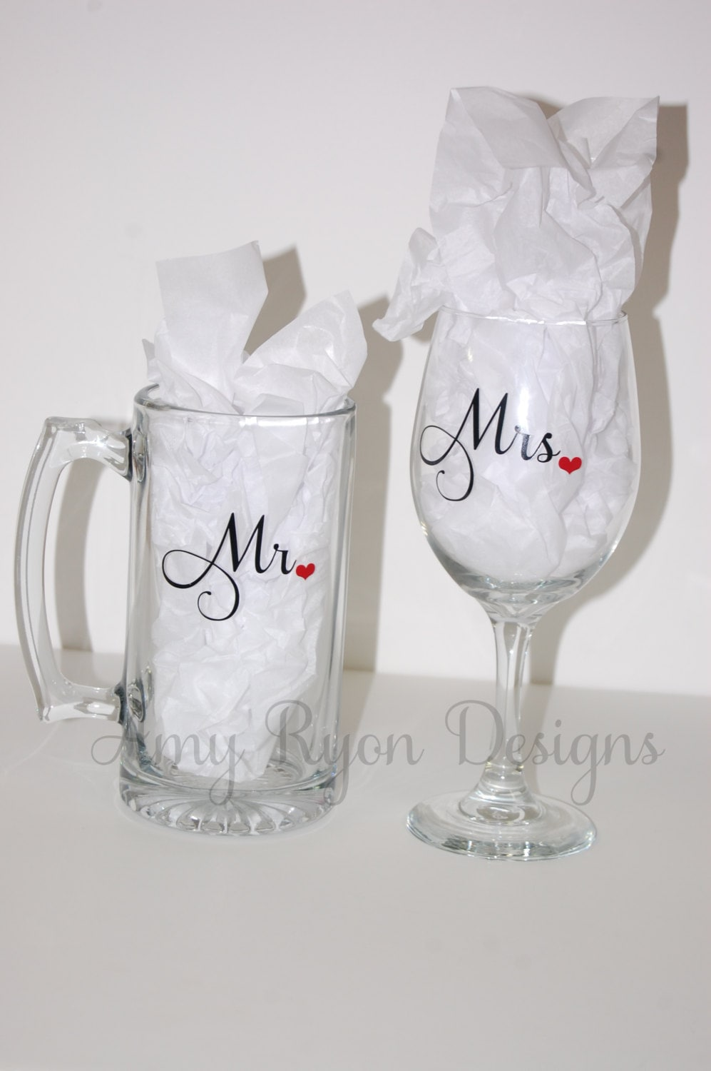 Mr. and Mrs. Beer and Wine Glasses His and Her Drinking