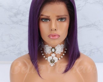 Custom Brazilian Human Hair Lavender Ombre Lace Front Wig With Baby Hair