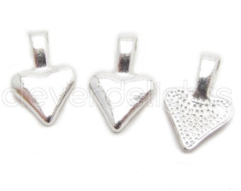 50 Heart Bails - 16x10mm - Shiny Silver Color - Small Glue On Bails - Scrabble Glass Pendants Heart Spider Bail - 5/8 x 3/8 inch 10x16 mm