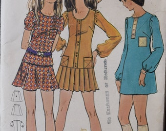 Early 1970's Butterick 5867 Vintage Sewing Pattern One or Two Piece Mini Dress Pleated Skirt Low Waist Misses Size 8 Bust 31.5