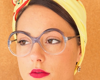 Vintage eyeglass 1970s Made In Italy New Old stock Multicolored Frames Grayish Blue and Clear