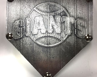San Francisco SF GIANTS Faux Metal Wall Art Home Plate plaque trophy award sign baseball softball