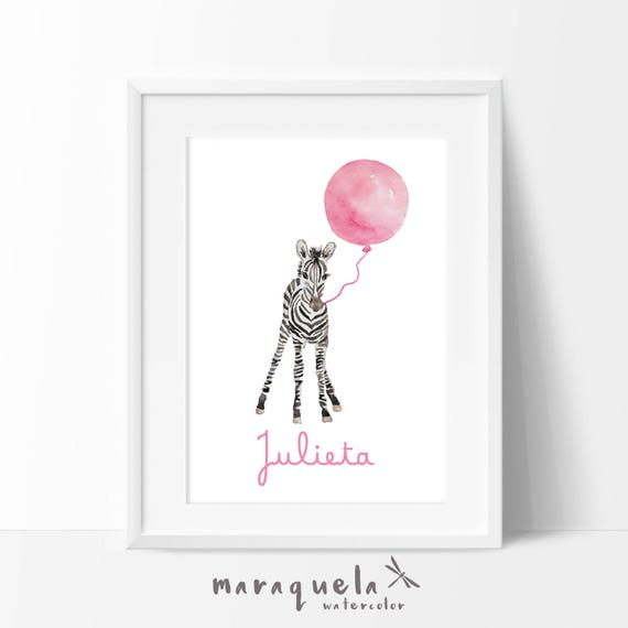 Little ZEBRA and Pink balloon Watercolor, nursery decor custom name. Personalized Baby print. Children wall decor, shower girls, kids room