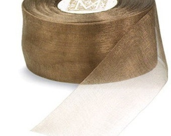 Mocha Brown Organdy Ribbon Paper Crafts Cardmaking 6 yards Gorgeous Organdy Ribbon Midori High End Ribbon