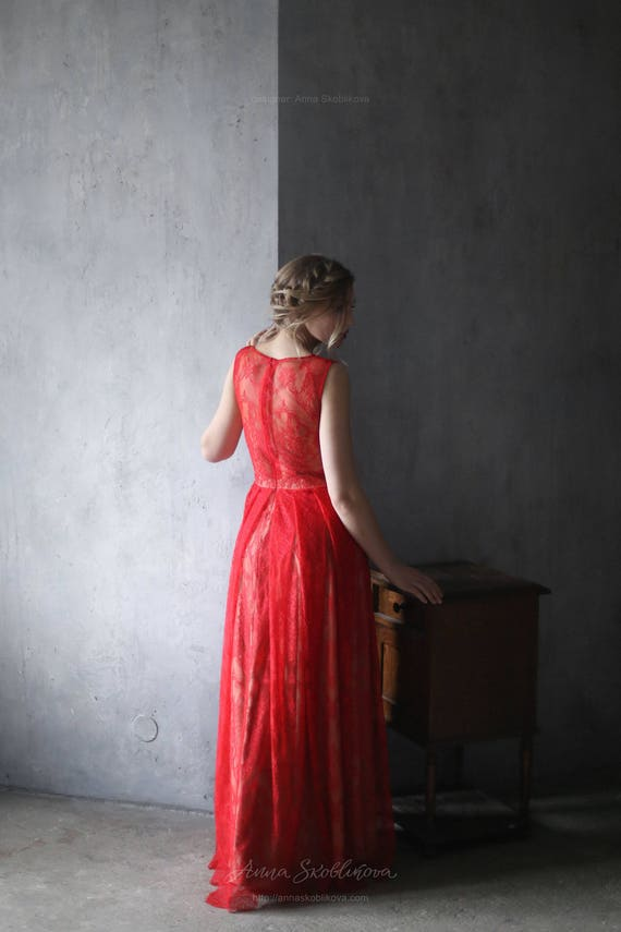 Sale wedding dress Sample Sale Red wedding dress Red lace