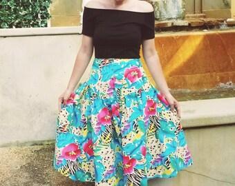 Cheetah and Floral Pin Up Skirt