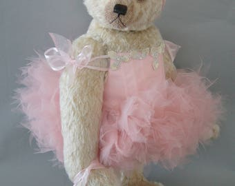 Nevine musical ballerina, a 46 cm blond curly mohair teddy bear