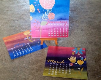 Watercolour and flowers printed easle or CD desk calendar