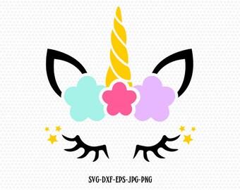 unicorn svg, unicorn eyelashes, unicorn birthday svg, Magical unicorn svg,, unicorn face svg, Cricut, Silhouette Cut File, SVG DXF EPS