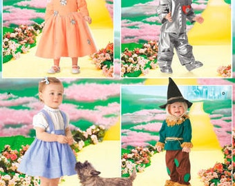 Sewing Pattern for Toddlers Wizard of Oz Costume, Halloween Costume, Simplicity Pattern 4024,  Dorothy, Scarecrow, Tin Man, Good Fairy