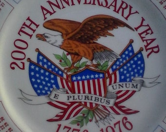 Vintage Bicentennial Collectors Plate 200th Anniversary Year 1776 1976 Rare USA Eagle Bicentennial Flag Picture Calender Collectors Plate