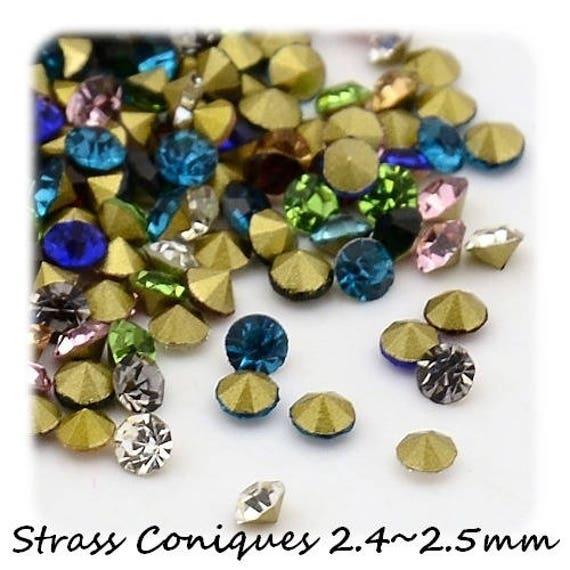 Swarovski rhinestones, rhinestone diamond, multicolored Rhinestones, rhinestone 2.4 mm, rhinestone bottom tapered, paste Rhinestones, rhinestone crimp findings Dollydoo