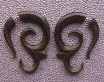 Hand Carved Earrings - AIKA - Tribal Fake Gauges - Natural Dark Brown Sono Wood