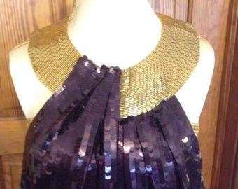 Purple & Gold Vintage Sequin Dress