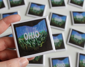 Ohio Magnet, Ohio State, Ohio Art, Corn Field, Ohioan, Heartland, Fridge Magnet, Midwest, Rural, Farm Art, 2 Inch Square Refrigerator Magnet