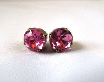 Pink Rhinestone Stud Earrings, Simple Pink Earrings, Post Earring, Pink Crystal Studs, Crystal Post Earring, Pink Topaz Studs, Small Pink