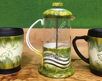 French Coffee Press set with Two matching Mugs