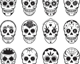 Sugar Skull Halloween Silhouettes 21 Pack Silhouette SVG Cut Files Instant Download