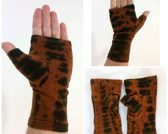 Black and brown tie dye fingerless gloves, wrist warmers in bamboo blend.