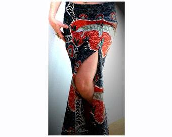 Aboriginal Australian lizard skirt. Maxi pencil slit skirt. Handmade print cotton skirt. Red black maxi print skirt. Women slit sexy skirt