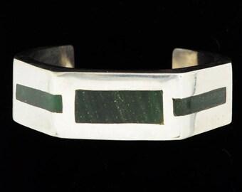 Vintage Mexican Silver Onyx Inlaid Modernist Geometric Bracelet Cuff