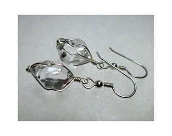 """ww1308 - 1/2""""+ Wirewrap HERKIMER DIAMOND EARRINGS - Argentium Sterling Silver"""
