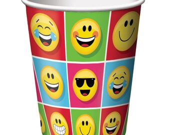 Emoji Paper Cups [8ct] Smiley Face Emoiticon Birthday Party Tableware Table Supplies