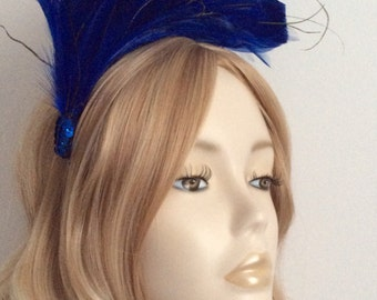 ROYAL BLUE FASCINATOR, Hackle feathers, with touch of Gold ostrich, On satin headband, Colour Royal Blue