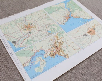 City Map Rome, Istanbul, Athens, Tehran Original Print