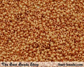 25g (4200pcs) Metallic Orange Rocaille 12/0 (1.9mm) Preciosa Czech Glass Seed Beads