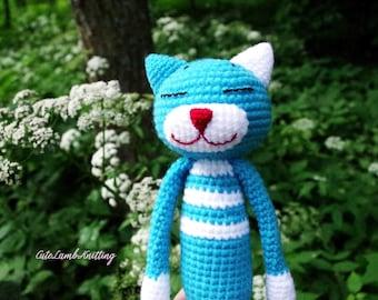 Haak Amineko kat kat, blue cat, amigurumi haak kat haak, haak knuffeldier, gehaakte dieren, gehaakte knuffel, schattig zacht stuk speelgoed