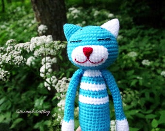 Crochet Amineko Cat, crochet cat, blue cat, amigurumi crochet cat, crochet stuffed animal, crochet animals, crochet plush toy, cute soft toy